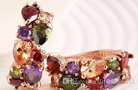 Livraison gratuite mariée bijoux trois pièces coloré brillant zircon anti-allergique collier boucles d'oreilles bague ensemble bijoux pas cher pour les femmes