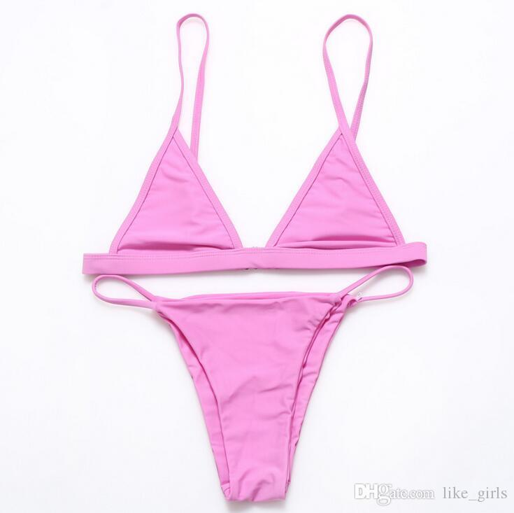 Bom A ++ O novo terno de biquíni split swimsuit cor sólida NS021