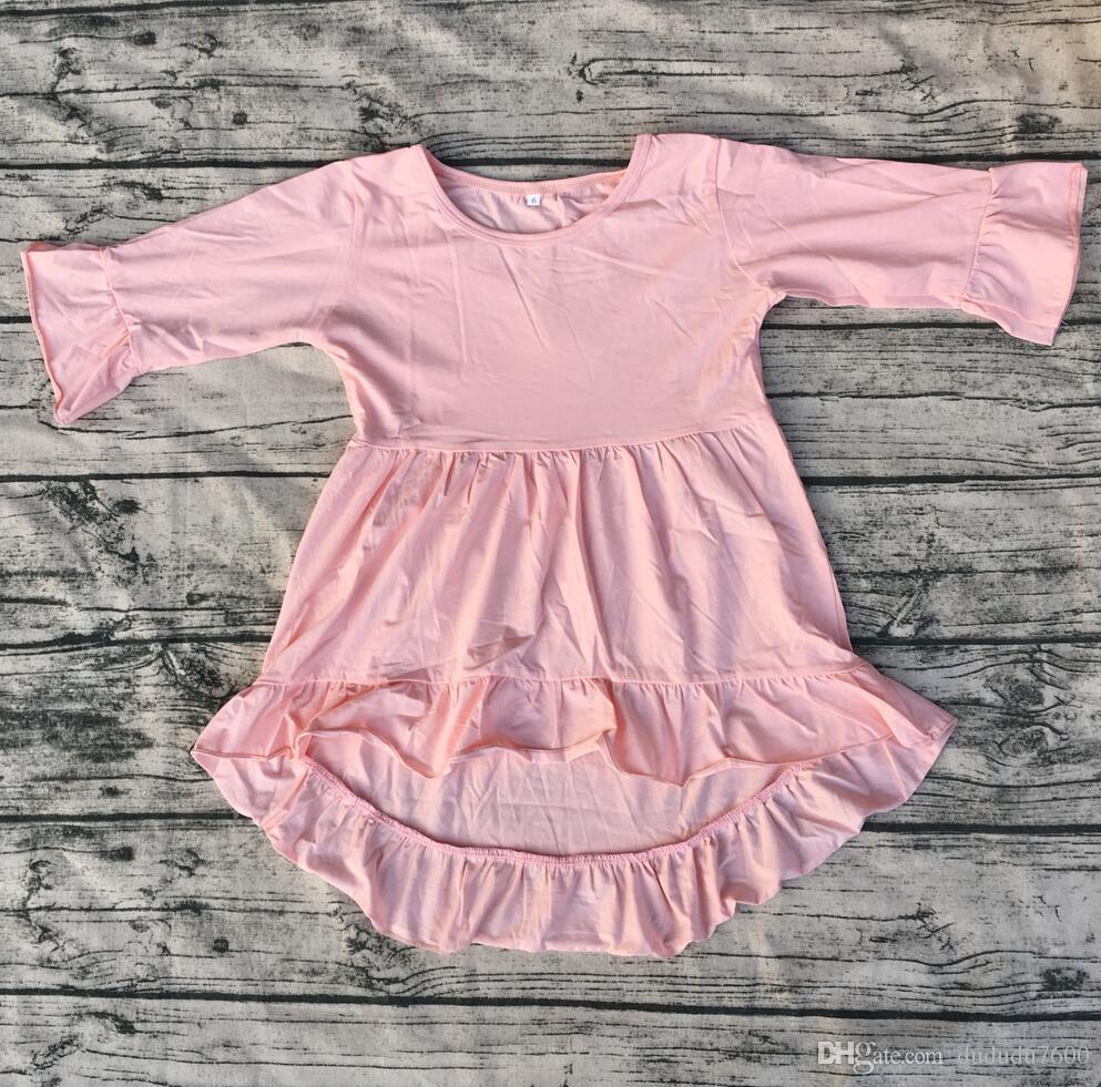 Baby Boutique Kleider Kinder hoch niedrig lange Rüschenärmel Tunika Mädchen Partykleid