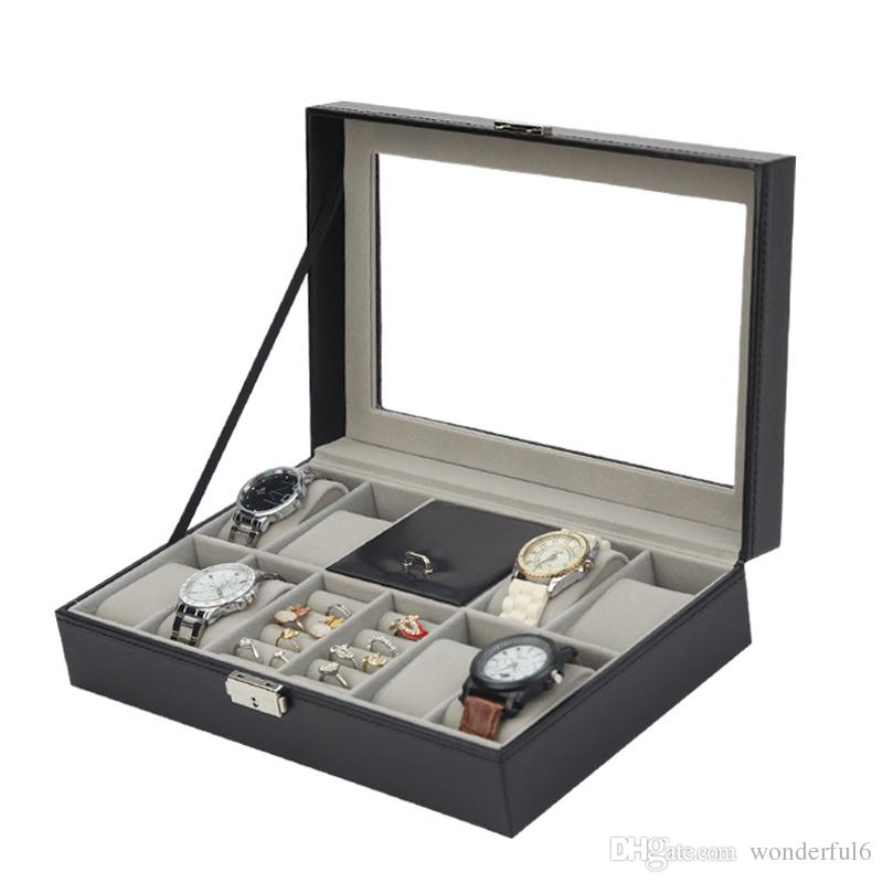 Fashion Black Leather 8 Grids Watch Box Ring Case Watch Organizer Jewelry Display Collection Storage Case With Glass Cover