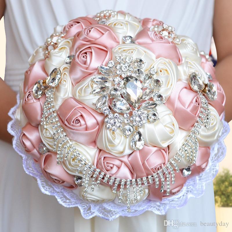 Bouquet De Mariée De Mariage Fleurs À La Main Peals Cristal Strass Rose Fournitures De Mariage Mariée Tenant Broche Fleurs De Fiançailles De Mariage