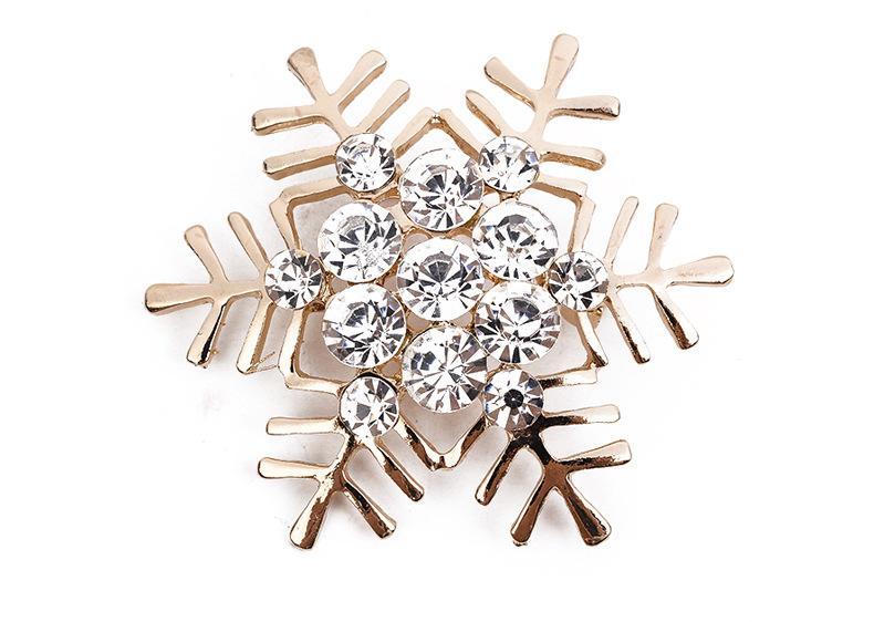 Rhinestone Kristal Kar Tanesi Broş Noel kar tanesi korsaj, Noel hediyesi alaşım malzeme aksesuarları
