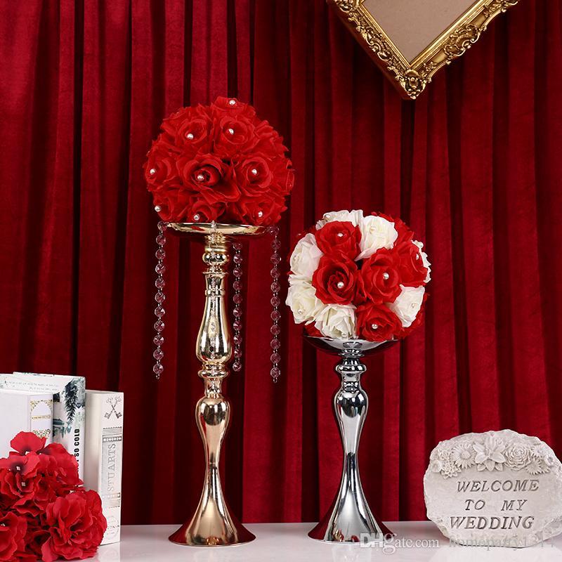 Gold Metal Candle Holders for wedding home decoration Flowers Vase Candlestick Road Lead Candelabra CentrePieces flower display rack 50cm