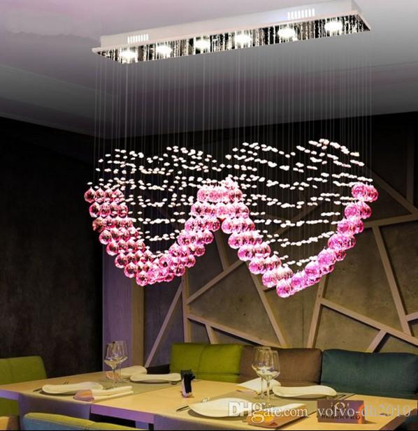L90cm X H80cm K9 Pink Crystal Two Heart Shaped Pendant Lights Lighting Droplight Chandelier Bedroom Lamp Living Room Wedding Marry Llfa Floor
