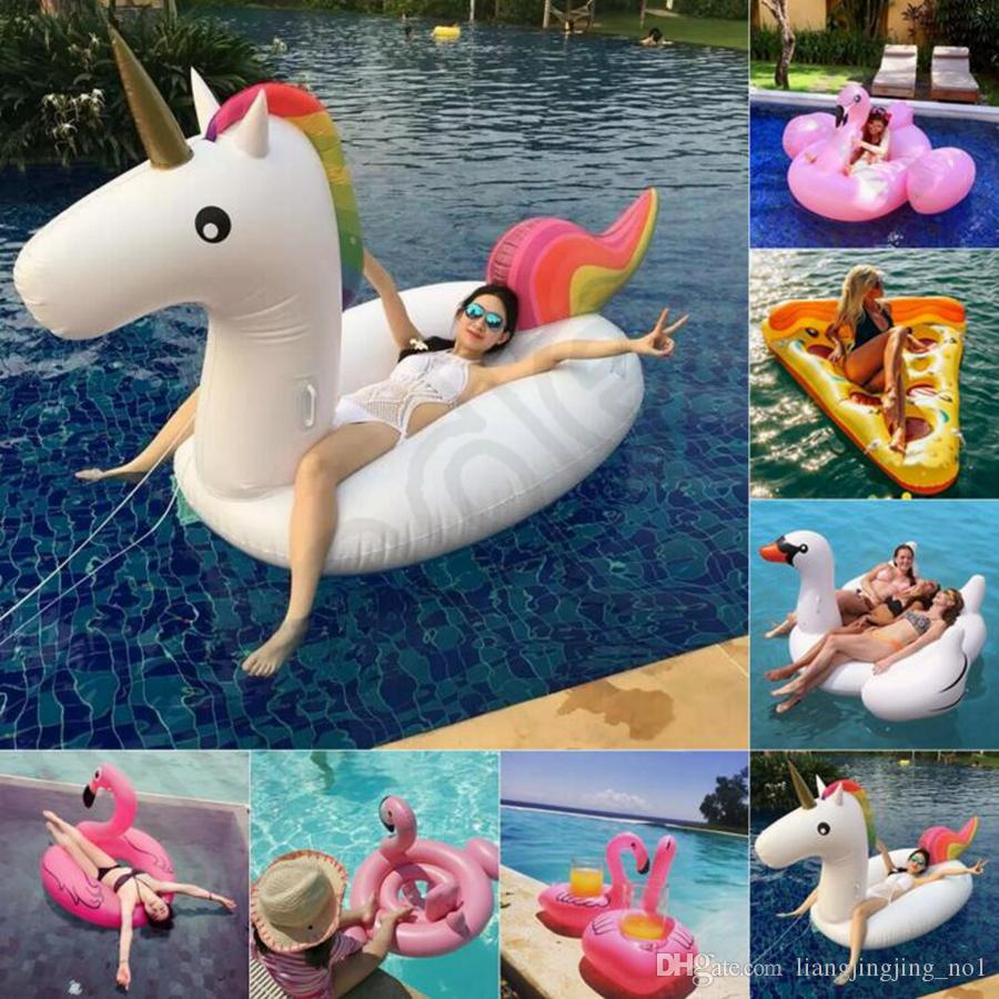 Adult Swimming Ring Giant Inflatable Flamingo Unicorn Pizza Swan Pool Float  Inflatable Water Pool Toys 9 Designs OOA1252