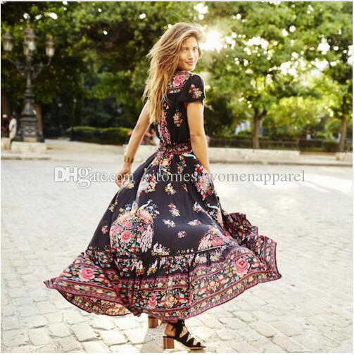 0683f296692 Plus Size Xxl Black Floral Print Chiffon Summer Long Dresses Vinatge Sexy V  Neck Maxi Bohemian Beach Elegant Casual Chic Women Dress Black Prom Dresses  ...