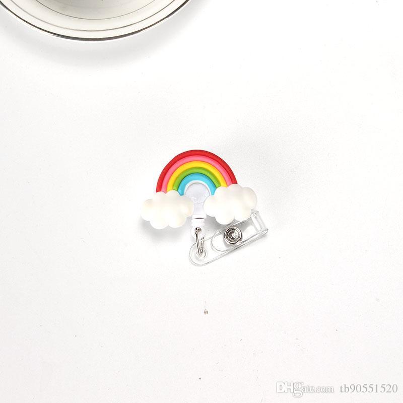 Lovely Heart Clouds House Design Nurse Retractable Badge Reel Pull ID Card 3D Badge Holder Belt Clip Hospital School Office