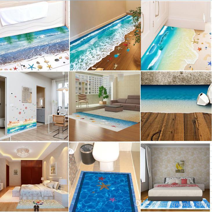 creative 3d floor stickers starfish footprint sea beach bathroom