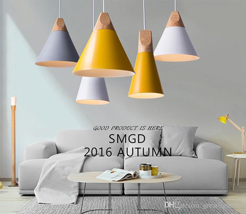 Nordic Minimalist Pendant Lights Simple Living Room Lightings Wood U0026  Aluminum Chandelier Loft Pendant Lamps Dia 14cm/22cm/25cm Large Ceiling  Lights Lighting ...