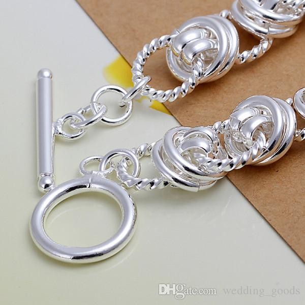 christmas gift Double circle 925 silver charm bracelet 20x1.1cm DFMWB072,women's sterling silver plated jewelry bracelet