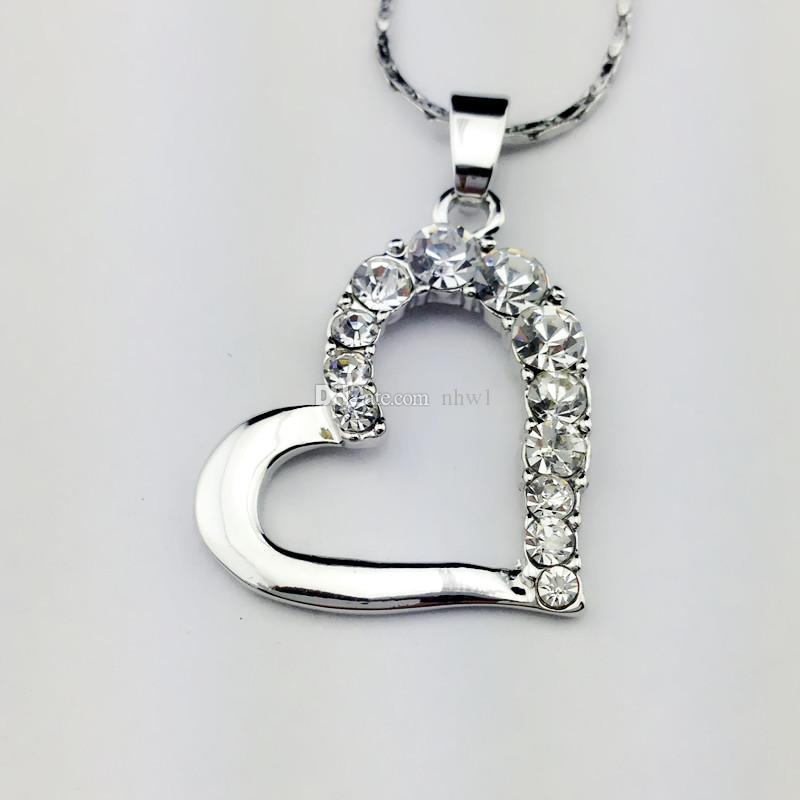 Buena calidad Amor Corazón Collares pendientes Joyas Moda Cristal Rhinestone Corazón Collar Plata Color oro Regalo de Navidad de San Valentín