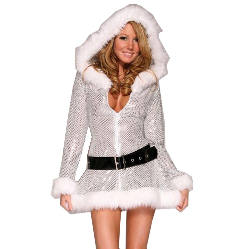 Exclusif Argent Fantaisie De Noël Costume Femmes Santa Costume Sexy Miss Claus Halloween Partie Cosplay À Capuche Robe + Ceinture