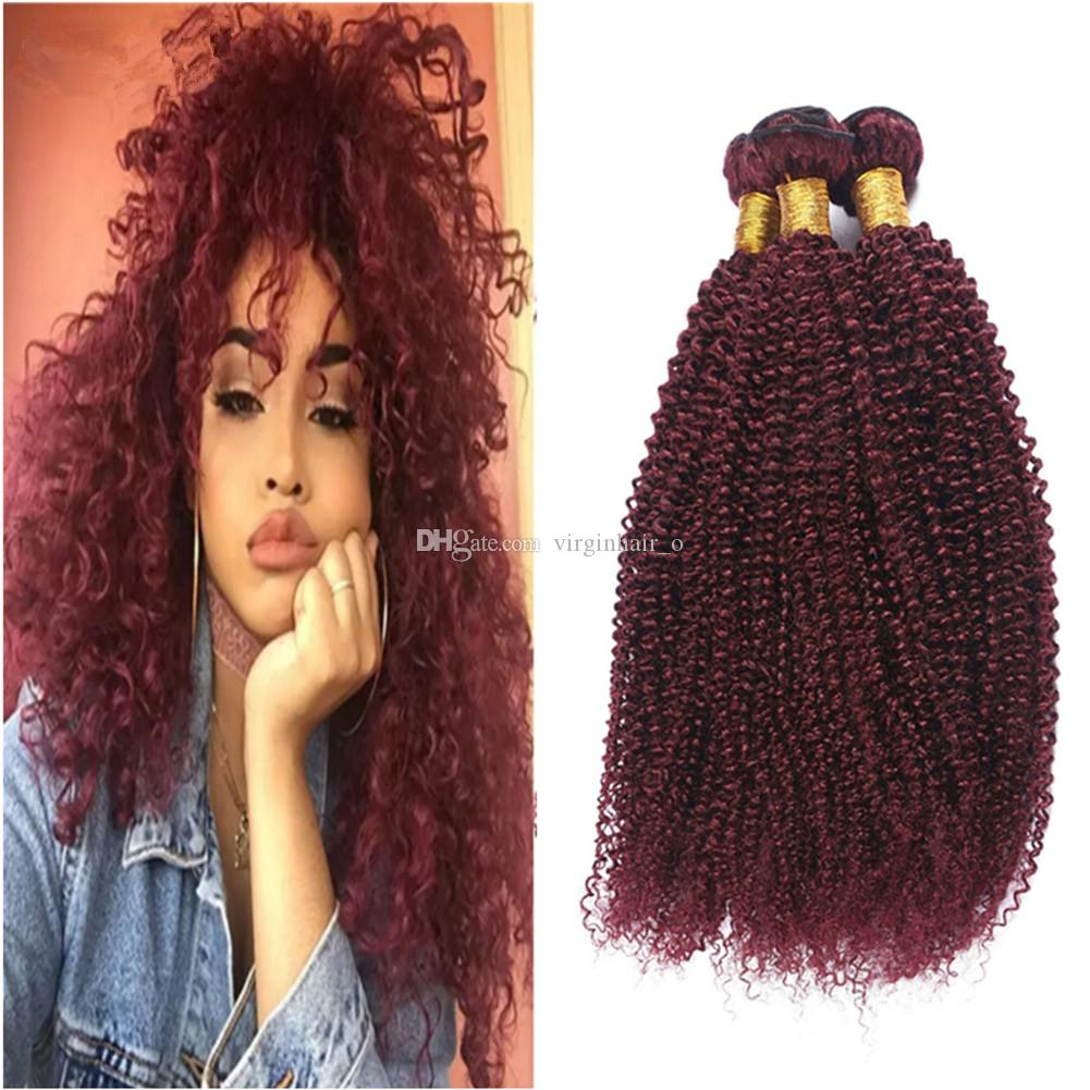 300g 99j Burgundy Dark Wine Red Remy Hair Bundles Afro Kinky Curly Top  Quality Pure Colored Indian Virgin Human Hair Weave Weft Extensions Hair  Extensions ... 4db75726e1ad