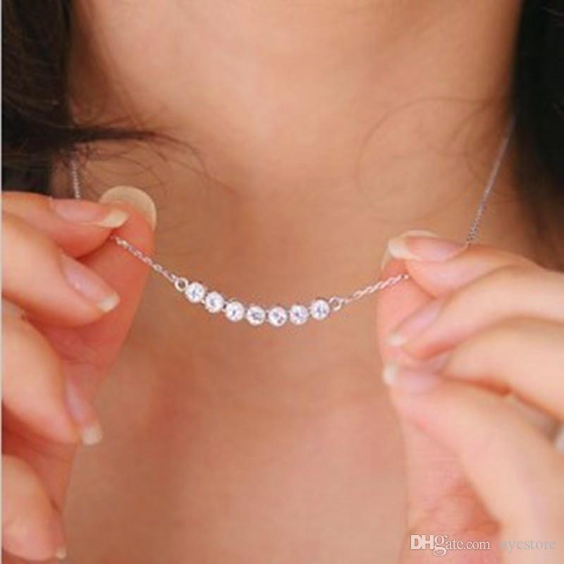 Latest Women Fashion Silver Plated Crystal Necklace Smile Little Star Pendant Necklace Jewelry Wholesale