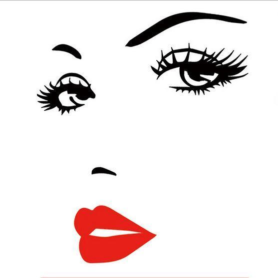 Wall Sticker Sexy Girl Lip Eyes Crystal Acrylic 3D Stereo