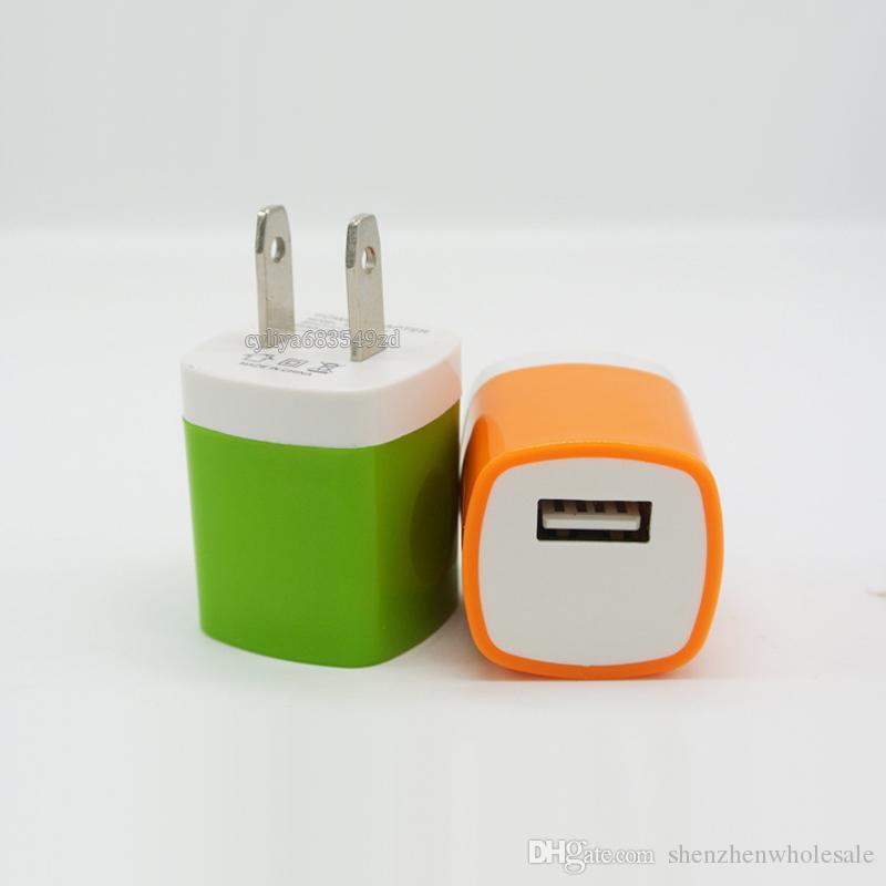 벽 충전기 여행 어댑터 삼성 S6 S6 EDGE 참고 5 스마트 폰 5V / 1A 다채로운 홈 플러그 USB 충전기 미국 버전 EU 버전 DHL