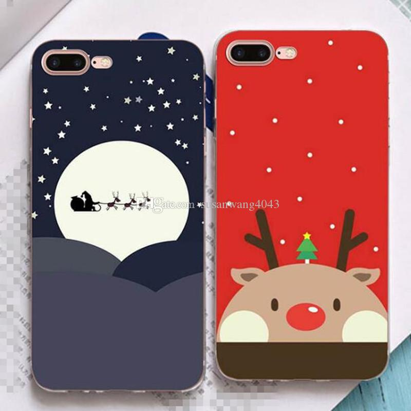 christmas phone cases for iphone7 iphone 7 6 6s plus soft tpu protective cover case santa claus design defender case gift case gsz372 cell phone cover cell
