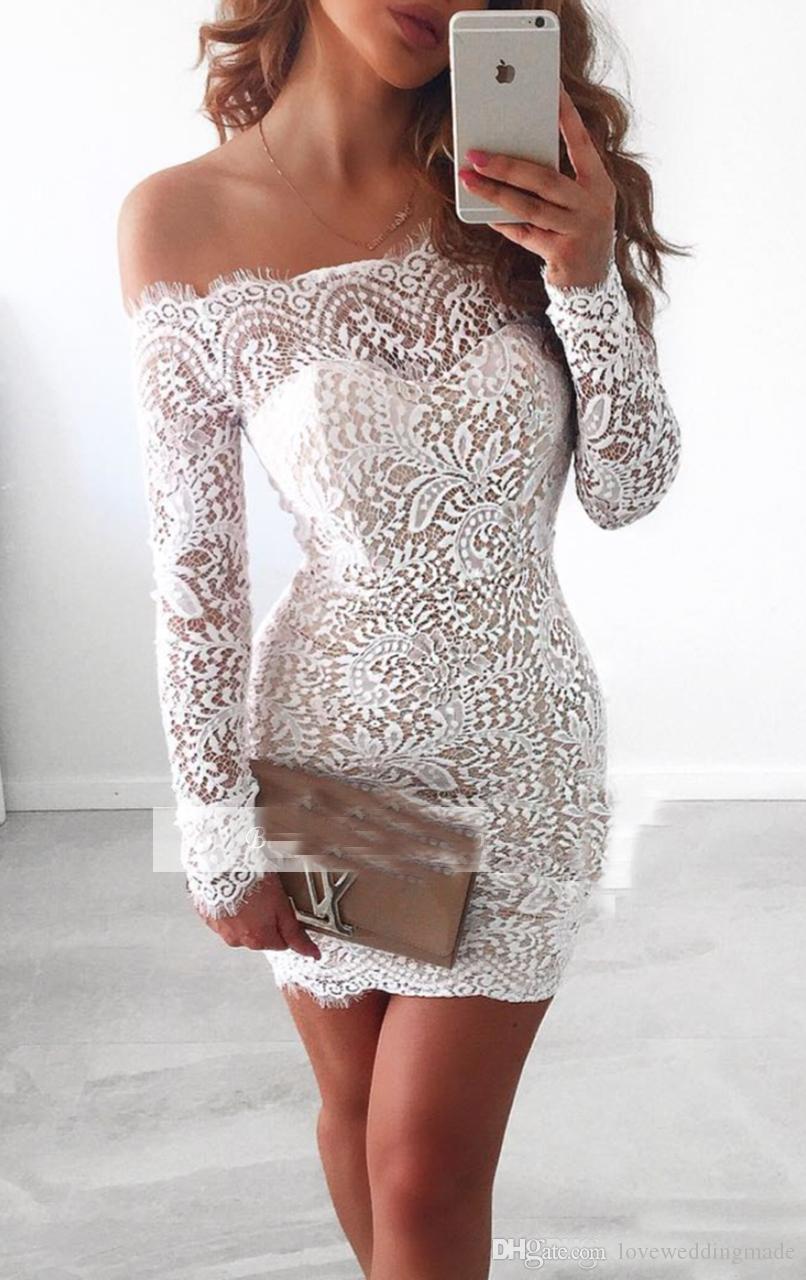 2017 Sexy Encolure courte Applique dentelle Cocktail robe blanche à manches longues Au-dessus de longueur au genou Homecoming robe de mariée