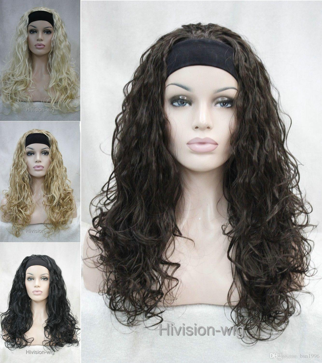 beautiful charming hot Fashion Long Curly Wave fluffy women Daily 3/4 half wig headband Hivision