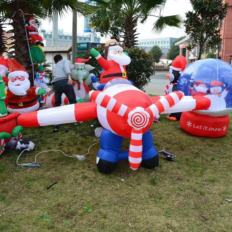 2.4m Inflatable Christmas Santa Decorations Santa Fight Plane ...