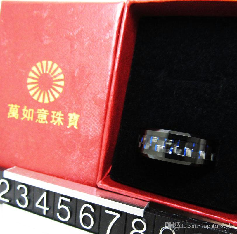 Hot sales Mens 8mm Black Tungsten Carbide Ring beveled edges with black and blue carbon fiber inlay popular and fashion jewelry finger ring