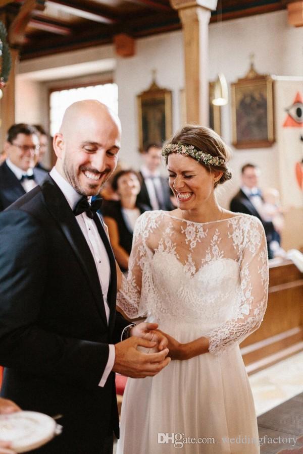 Romantiskt Landstrand Bröllopsklänningar Enkel Elegant Sweetheart Golvlängd Billiga Bröllopklänningar Med Avtagbar Utsökt Lace Jacka