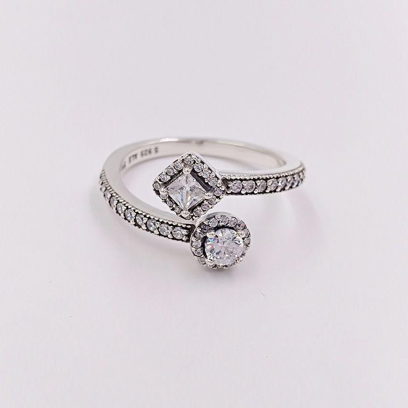 Autentico 925 anelli in argento sterling 925 Eleganza astratta, Clear CZ si adatta gioielli europei in stile Pandora spedizione gratuita 191031CZ