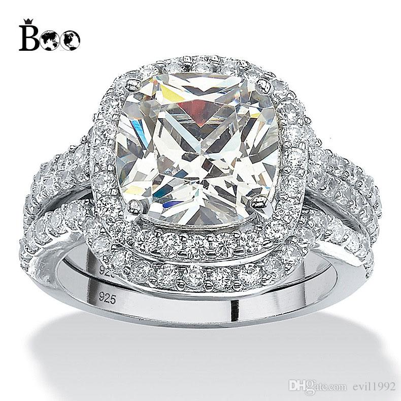 2018 New Design Ring Sets 3 In 1 Big Square White Crystal Stone 5a