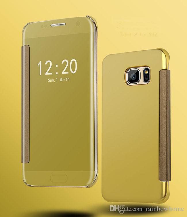 Plating Mirror Leather Case Clear Window View Chrome Flip Electroplate Phone Case Cover for iphone X 8 6 6S 7 Plus Galaxy S8 S9 Plus Note 8