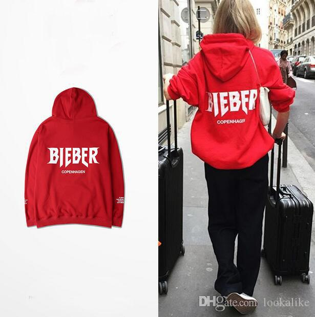 Stylish Justin Bieber Red Pullover Hoodie For Girl And Boys ...