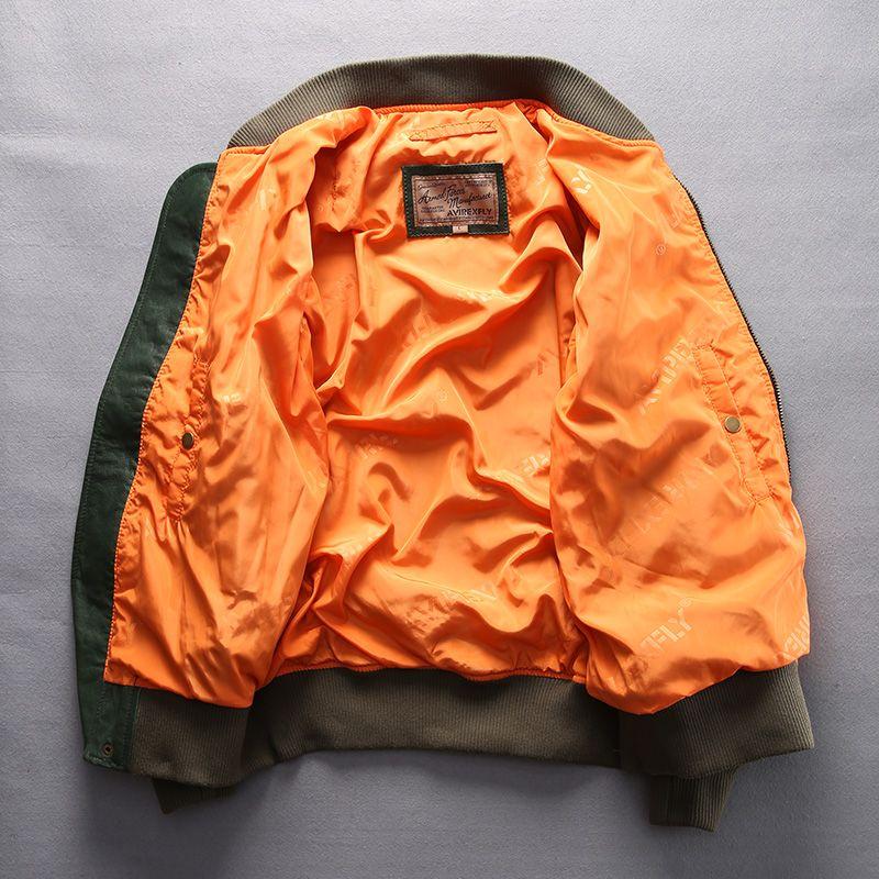 Jaqueta de Vôo MA1 AVIREX jaqueta de couro dos homens de pele de carneiro de couro genuíno masculino fino uniforme de beisebol Homem motocicleta casacos