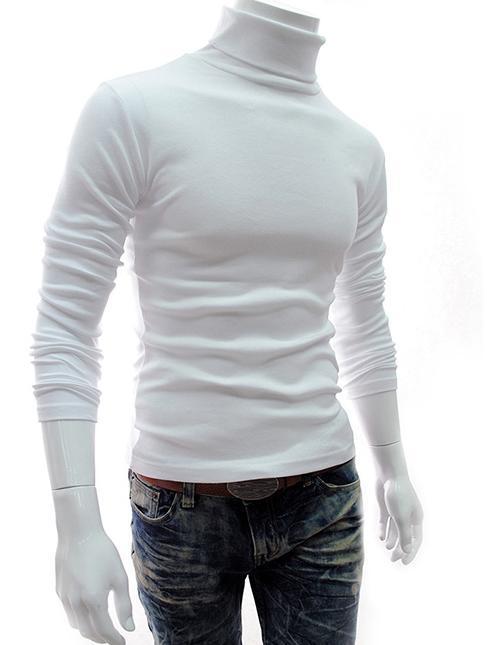 Felpa collo alto da uomo tinta unita Pullover manica lunga Slip da uomo primer maglia intima spedizione gratuita Coreano stile aderente uomo
