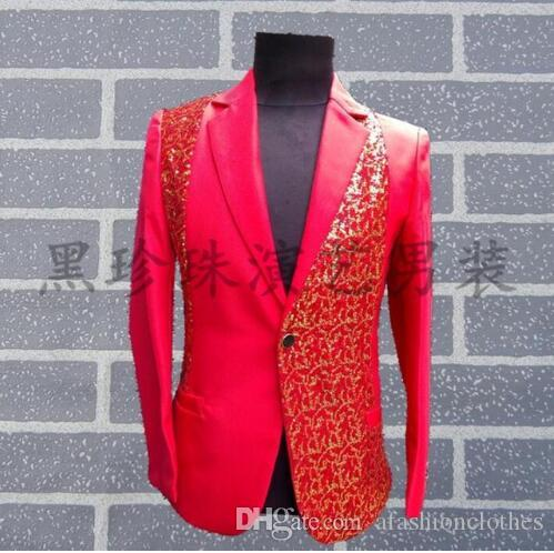 Black red novelty men suit designs masculino stage costumes for singers men  sequin blazer dance clothes jacket style groom formal dress dfc0b6b7620a