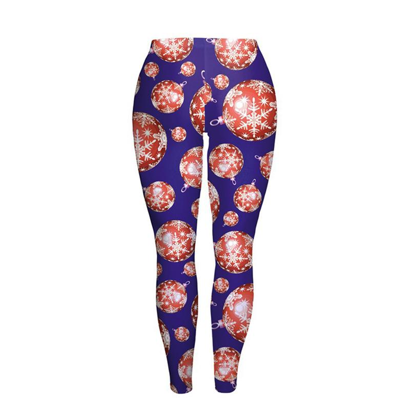 Vrouw-Yoga-Leggings-Trainingspak-Broek-Kerst-Ontwerp-Elanden-Kerstboom-Snowflake-Patroon-Afdrukken-Elastische-Materiaal-Nette-Tailoring