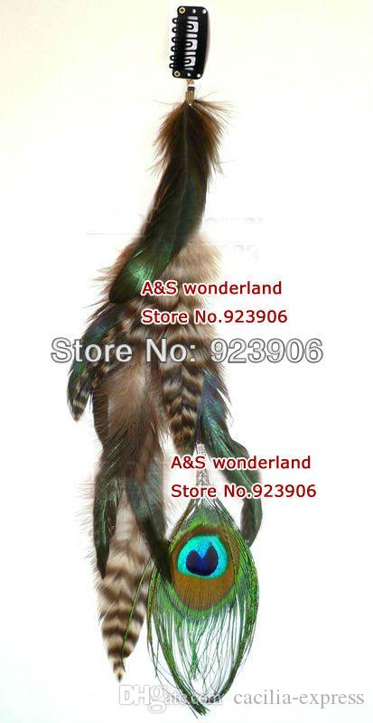 peacock feathers grizzly peacock clip in/ on hair extension women's fashion feather clip in hair extensions