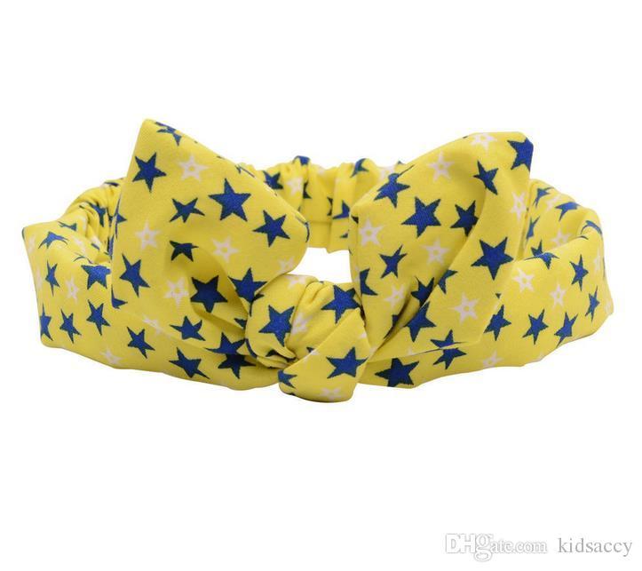 Bande calda Europa modo delle neonate Testa Florals Dots dell'orecchio del coniglietto Knot infantile variopinta fascia bambini Headwear elastico accessori dei capelli dei bambini