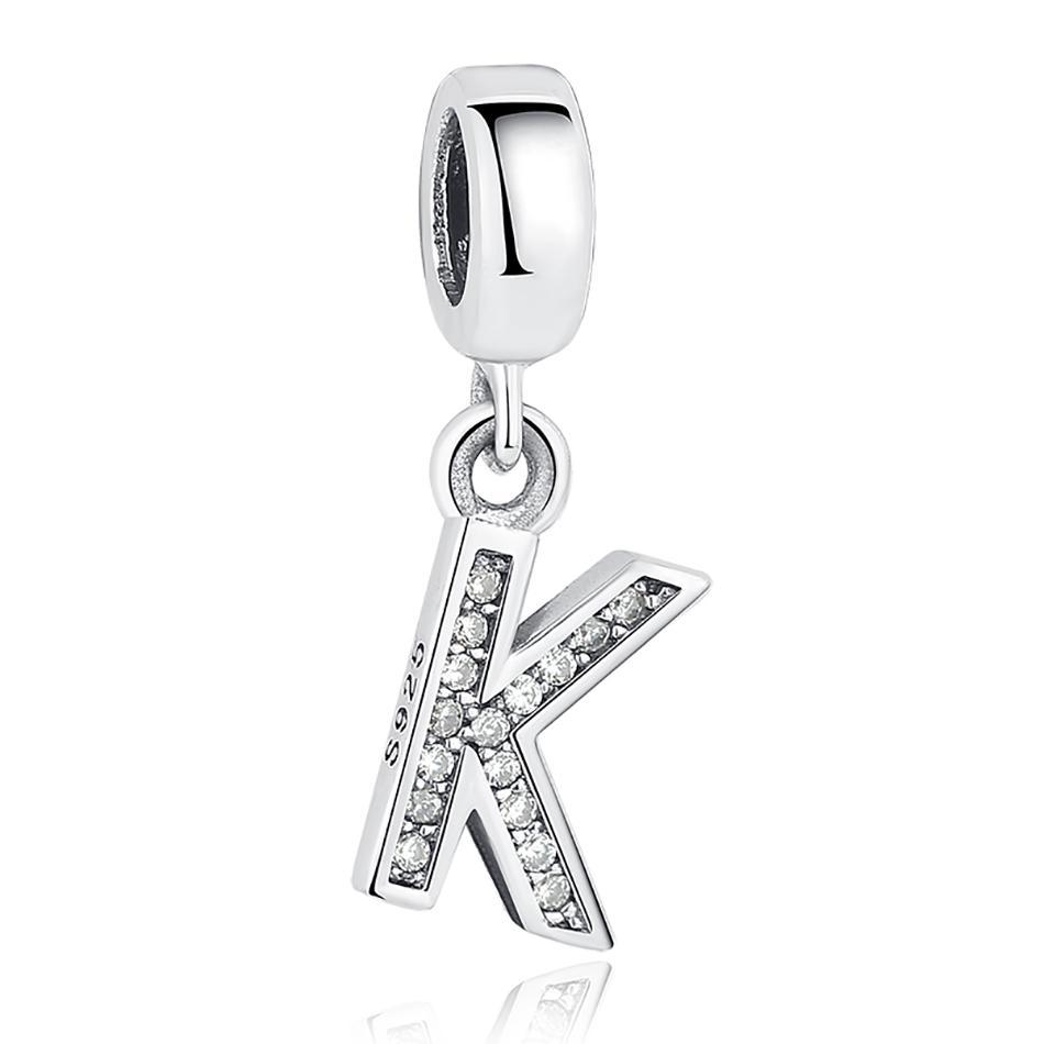 BELAWANG Fit Pandora Armbänder Halskette Authentische 925 Sterling Silber Schmuck Kristall Anhänger 26 Buchstaben Alphabet Charme Für Schmuck Machen
