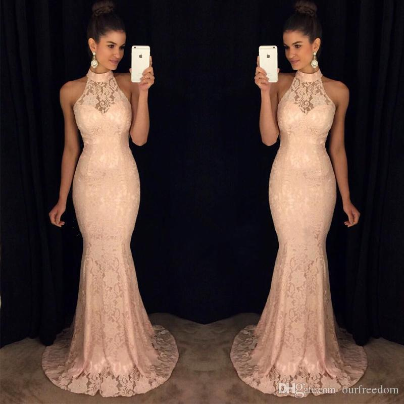 2019 Fashionable Halter Lace Prom Dresses Backless Formal Long Evening Dresses Mermaid Lace Formal Evening Gowns