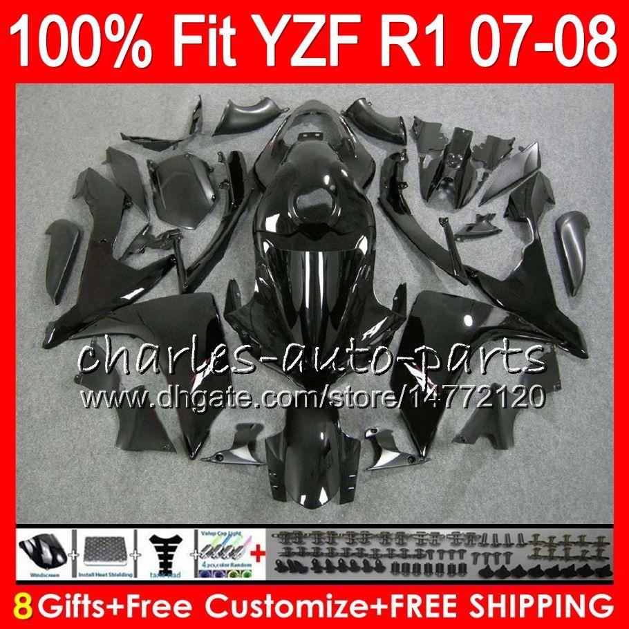 8Presentes Injeção Para YZF1000 YZF1000 YZF1 07 YZF 1000 37HM1 YZF-R1 07-08 YZF-1000 YZF R 1 YZF R1 2007 2008 Carenagem Brilhante preto