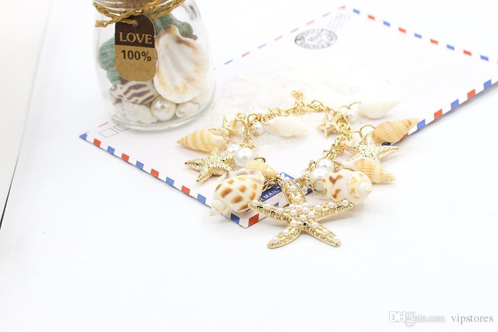 2017 Bohemian starfish seashell charm bracelet jewelry vintage handmade ocean sea star shell conch pearl cuff bracelets bangle for women
