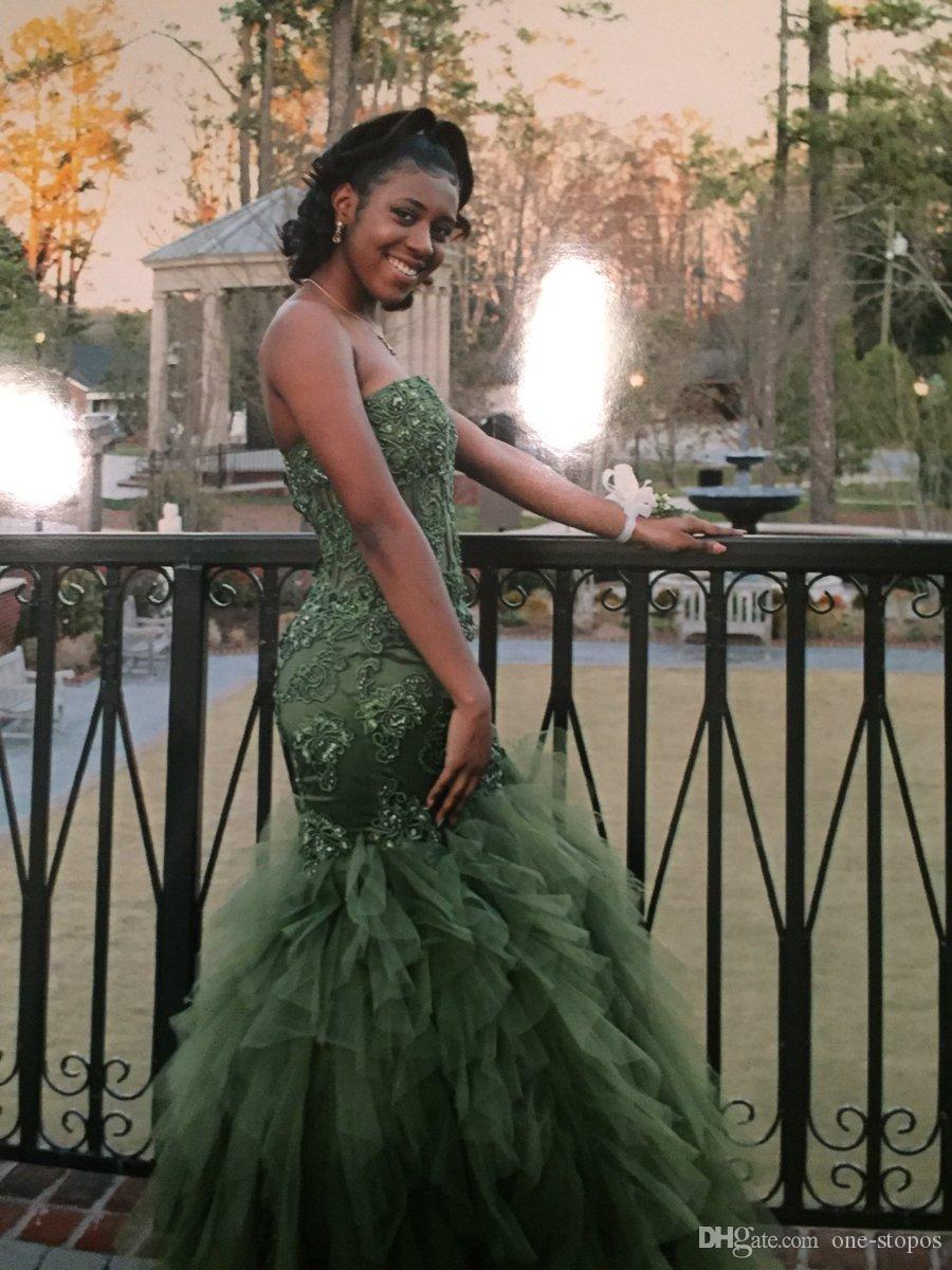 African Luxury Olive Green Mermaid Prom Dresses 2017 Lace Appliques Beaded Crystal Sweetheart Tulle Ruffles Formal Evening Celebrity Gowns