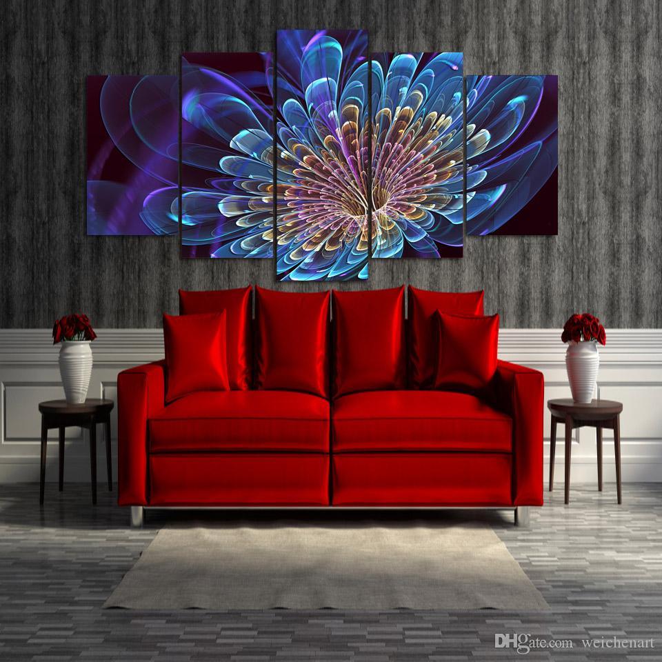 5 Paneli HD Baskılı Güzel Yaratıcı Çiçek Grubu Poster Resim Tuval Wall Art Painting Baskı Odası Dekor Boyama
