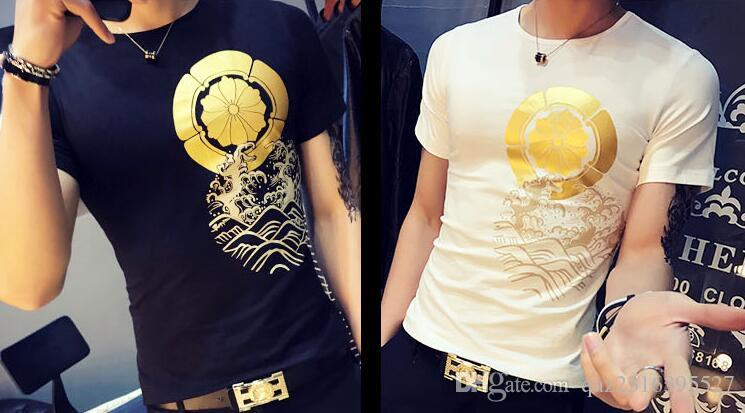 Halbes Hülsenhemd tätowiertes Drachenmuster des Sommers dominierendes T-Shirt die kurzen Hülsen der xia Männer kultivieren irgendjemandes Moral