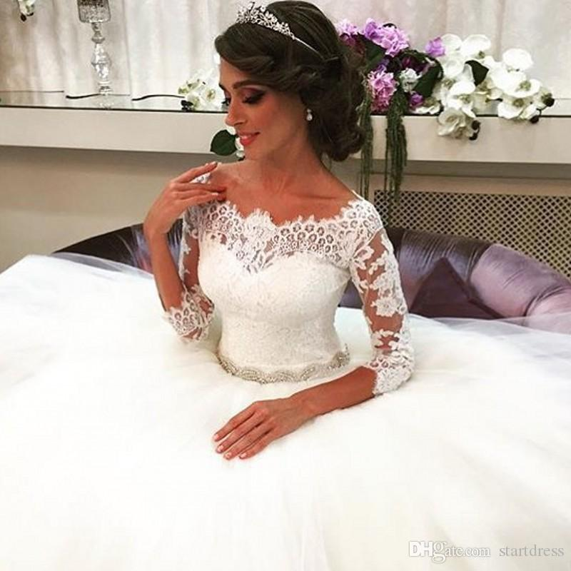 Gorgeous White Lace Ball Gown Wedding Dresses Princess Lace Beaded Sash Covered Bridal Gown Bohemian Cheap Country robe de mariée 3/4 Sleeve