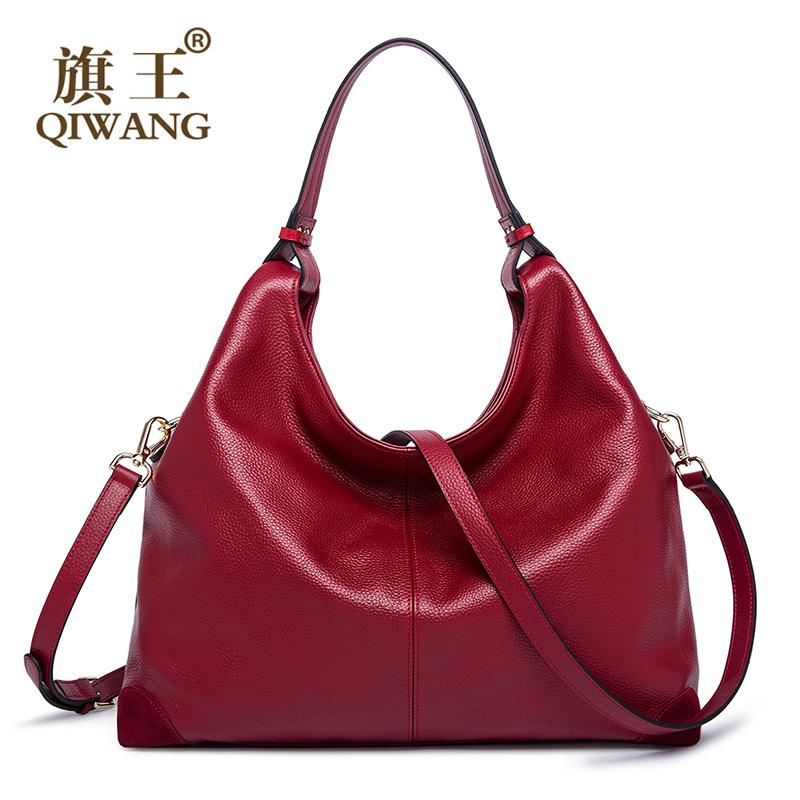 Wholesale- QIWANG Qiwang Real Leather Patchwork Handbags Women ... b499bef7ee7a7
