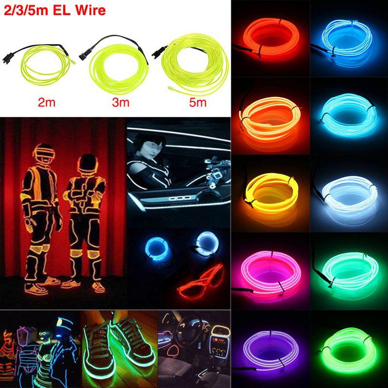 2018 El Wire 5m Flash Flexible Neon Led Light Glow El Strip Tube ...