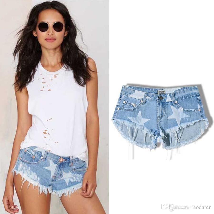 Raodaren Stars Print Women Shorts Fashion Frayed Tassel Denim Shorts Washed Sexy Low Waist Super Jean Shorts Summer 2017 European Style