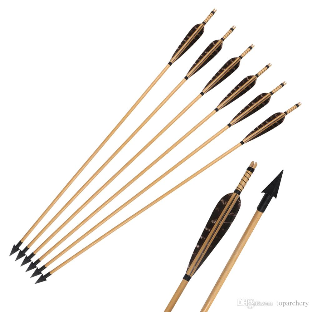 Pheasant Feathers Wooden Arrows Archery Hunting Arrows with A-806 Broadhead  150grain for Recurve Bow or Longbow