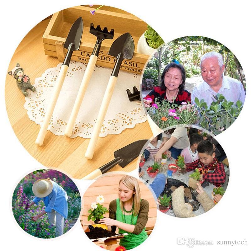 =Mini Garden Tools Kit Small Shovel Rake Spade Wood Handle Metal Head Kids Gardener Gardening Plant Tool ZA2596
