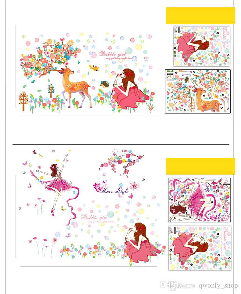 6 Styles Fairies Girl Butterfly Removable Home Decor Wall Decal Sticker Cartoon art Mural for Kids Nursery Decoration